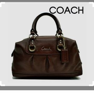 Coach brown leather Ashley large satchel handbag